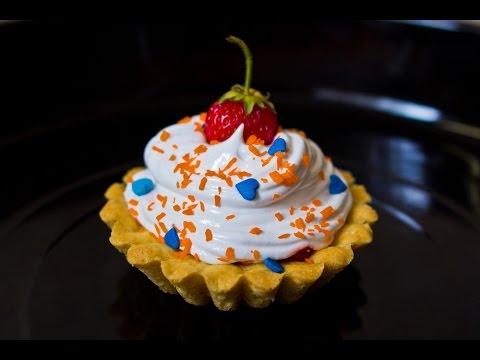Десерт. Тарталетки с белковым заварным кремом. Простой рецепт