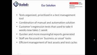 Acolade Consulting: End to End Oracle Applications Test Automation