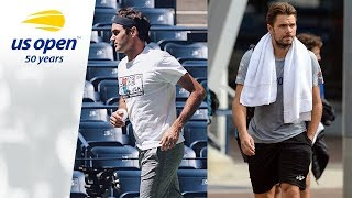 Roger Federer and Stan Wawrinka Practice AT 2018 US Open
