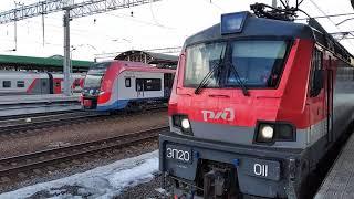 \Ласточка\ЭС2Г-135 МЦД прибывает на вокзал и ЭП20-011