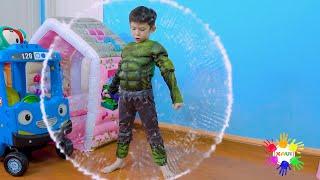 Xavi ABCKids pretend play funny kid dress up as Superheroes