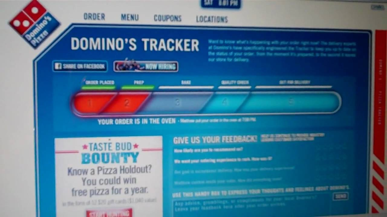 Dominos Pizza Order Tracking Online Youtube