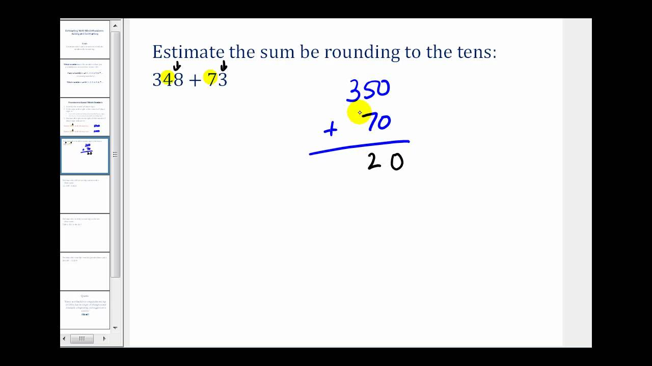 medium resolution of Estimating Addition and Subtraction Problems Involving Whole Numbers -  YouTube