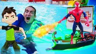 Человек Паук и Бен 10 попали в шторм! Приключения игрушек в Аквапарке! Время быть героем!