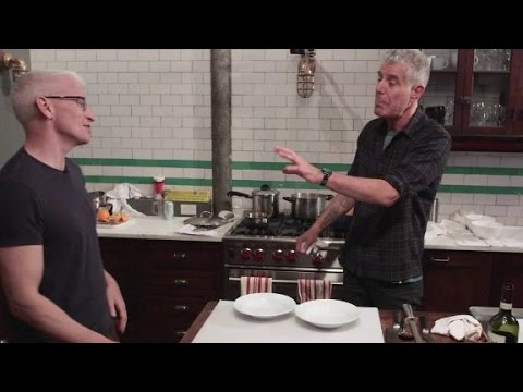 Anthony Bourdain and Anderson Cooper cook Sunday gravy (Parts Unknown: New Jersey)