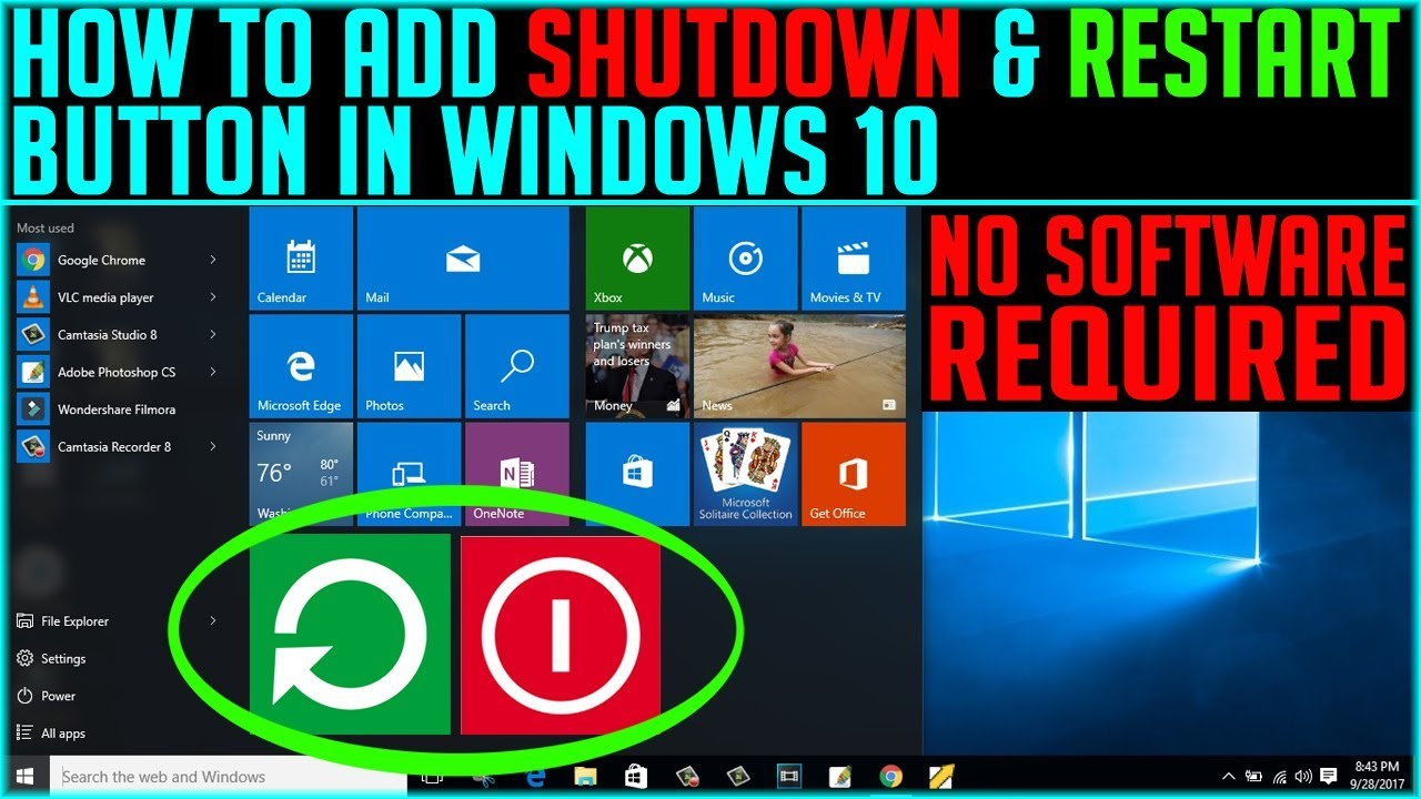How to add Shutdown and Restart Button on Window 10 without any software |  Computer Tricks 2017