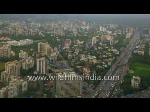 Flying over Mumbai city, mangroves and the Arabian sea coast