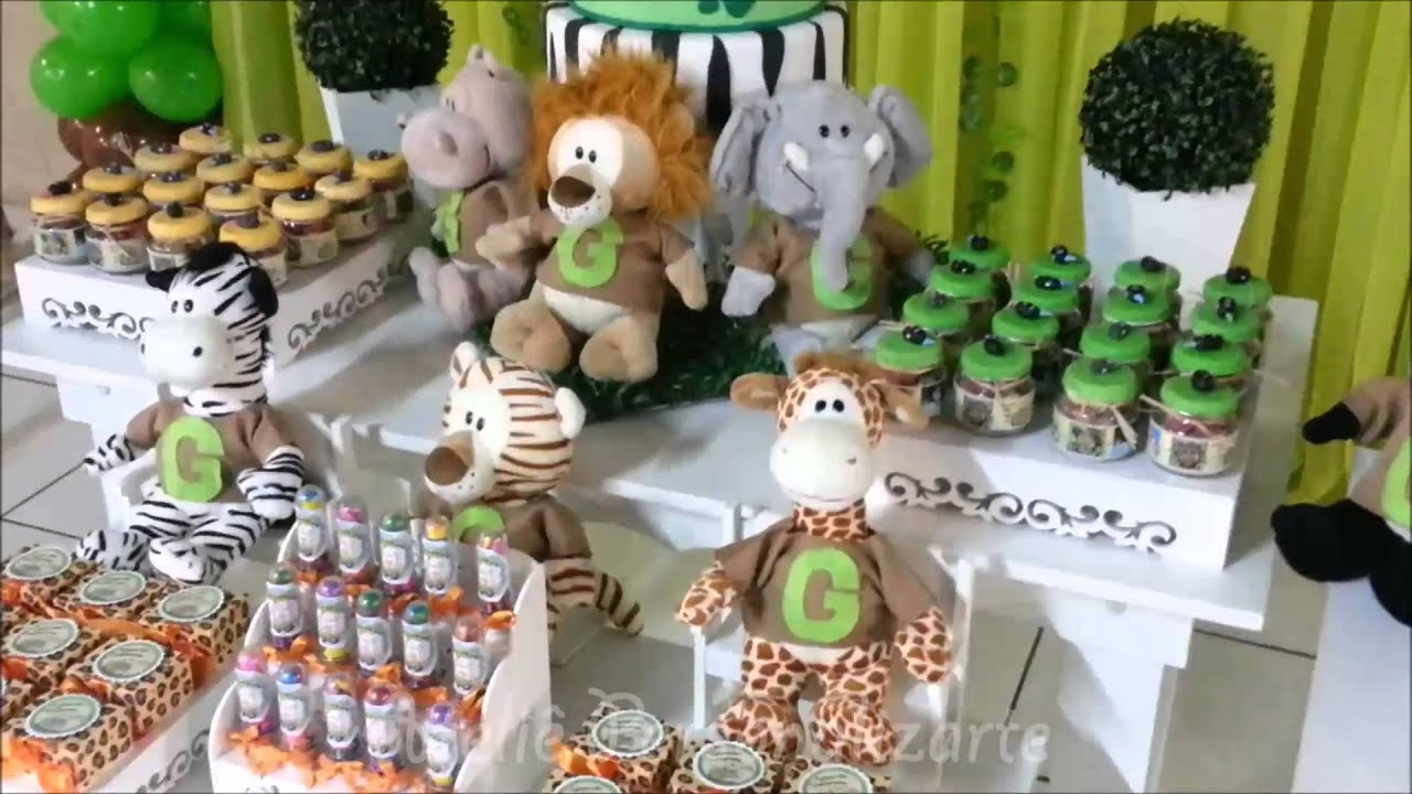 Decoraç u00e3o de festa infantil Safári Provençal YouTube -> Decoração Festa Infantil Zoologico