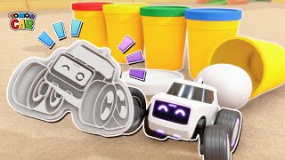 Use the cookie cutter to play Tomoncar clay! Learning Color names nursery rhyme Kids Songs