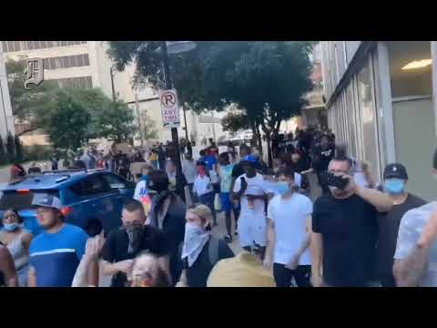 Protesters Stop Traffic On Woodall Rodgers Freeway In Dallas