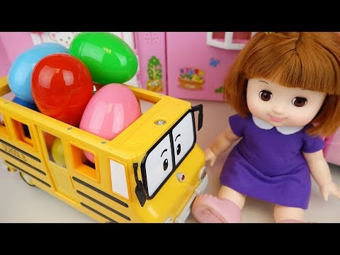 Baby doll surprise eggs school bus car and house toys play