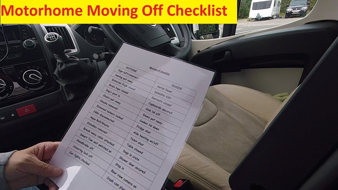 Motorhome Moving Off Checklist