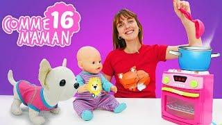 Vidéo en français pour enfants. Comme maman № 16 : une soupe pour le bébé born Emilie