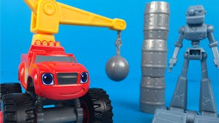 Wrecking Crane Blaze Monster Truck 3+ Mighty Machines for kids - Mickey Mouse Train Goofy