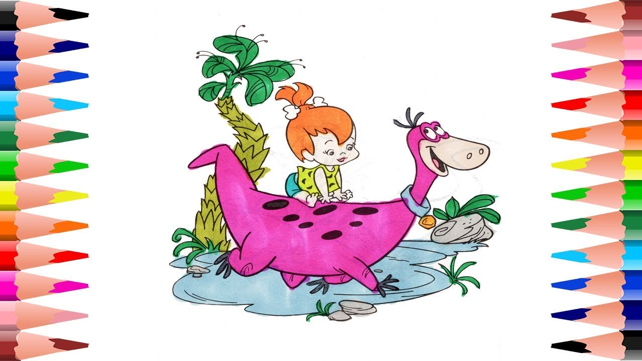 Painting Flintstones Dino And Pebbles Coloring Pages