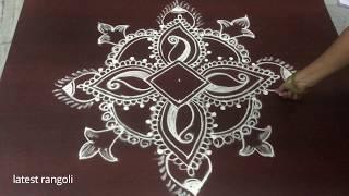 latest rangoli design with 3x1 middle dots || beautiful creative rangoli design