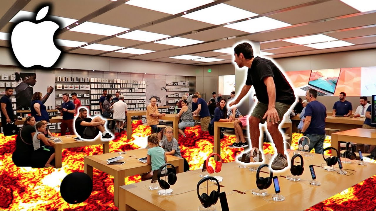 The Floor Is Lava Challenge In Apple Store Youtube