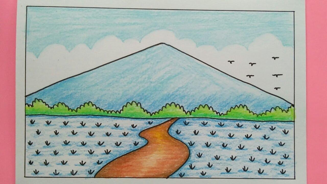 Cara Menggambar Pemandangan Gunung dan Sawah