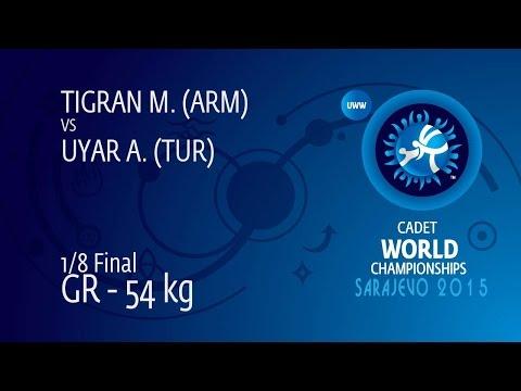 1/8 GR - 54 kg: M. TIGRAN (ARM) df. A. UYAR (TUR) by TF, 8-0
