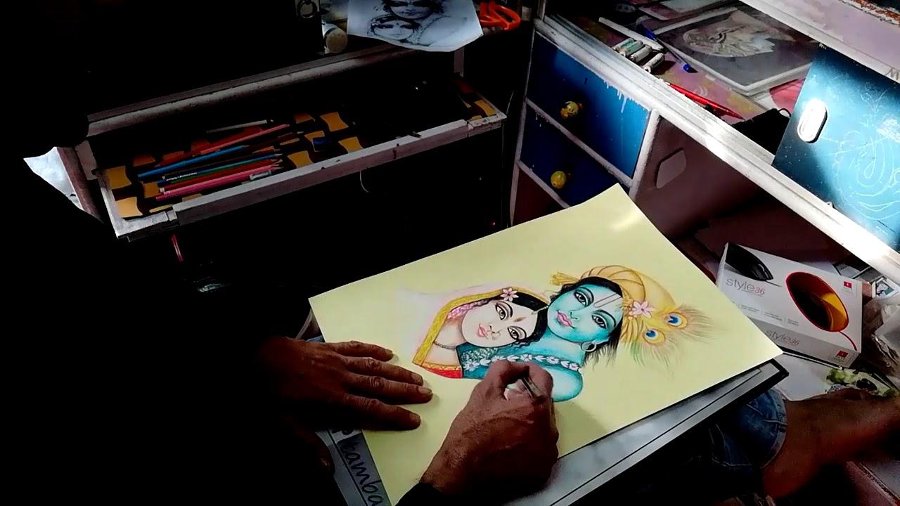 Pencil sketch art work lord radhe krishna1