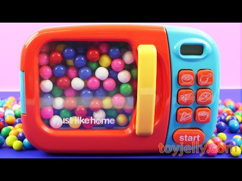 Learn Colors with Bubble Gum Balls Easter Eggs Microwave Oven Toys Kinder Joy Kinder Surprise Eggs