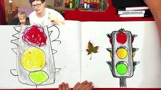 рисуем СВЕТОФОР цветными мелками с Павликом