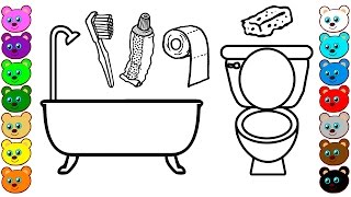 Toilet & Bathroom Tools | Coloring Pages for Kids