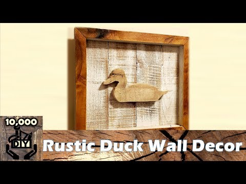Rustic Duck Wall Hanging  Wood Frame Decoration DIY   dry paint brushing   pallet wood art