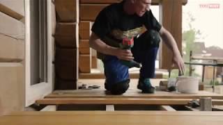 видео Облицовка террасной доской из ДПК открытого балкона, лоджии или крыльца