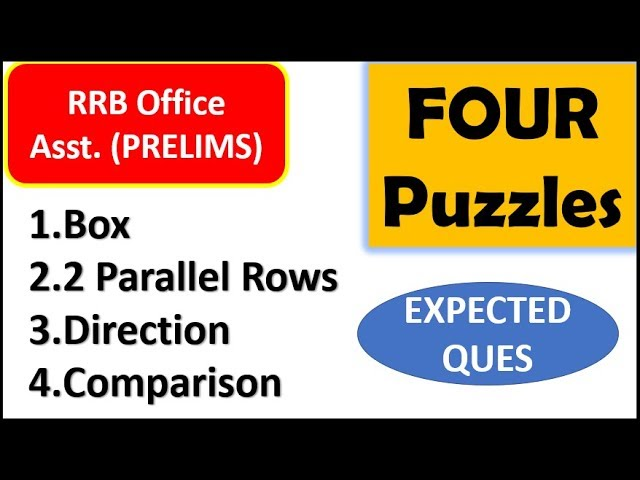 Box Puzzle , 2 Parallel Row , Direction and Comparision Puzzle asked in RRB Office Asst. Exam