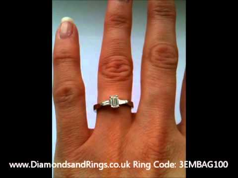 Three Stone Diamond Ring Emerald Cut And Tapered Baguettes
