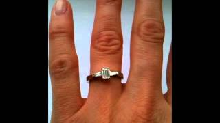 three stone diamond ring emerald cut and tapered baguettes 0 50 carat g vs platinum setting