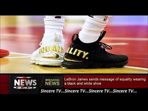 LeBron James sends message of equality wearing a black and white shoe 24d8b54d4