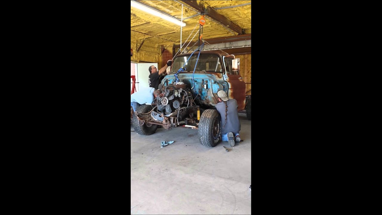 58 chevy cab going on the \'85 chassis - YouTube