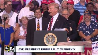 """THEY SHOW UP IN THE HELMETS AND BLACK MASKS! ANTIFA!"" President Trump speaks at Phoenix Rally"