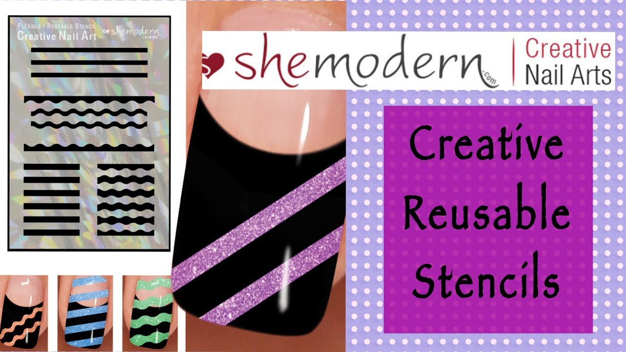 Creative Nail Art Stencils with Glitter || She Modern || CLOSED ...