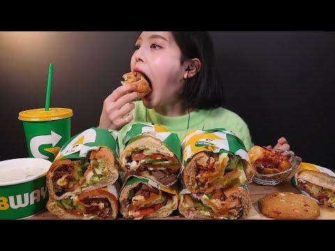 SUB[광고]써브웨이 샌드위치 3종 먹방 🌯 사이드로 웨지감자, 스프, 쿠키까지 ! 리얼사운드 Subway Sandwich Mukbang ASMR