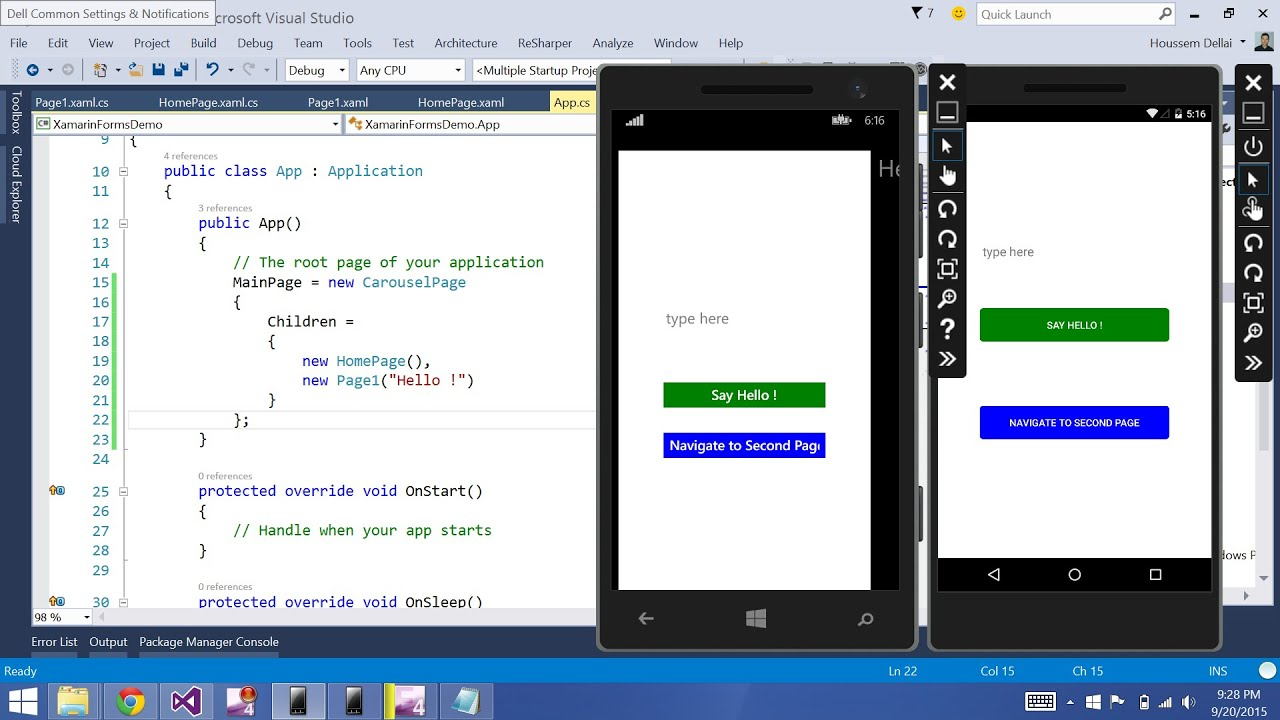 Xamarin Forms with Visual Studio Part 6 [TabbedPage]