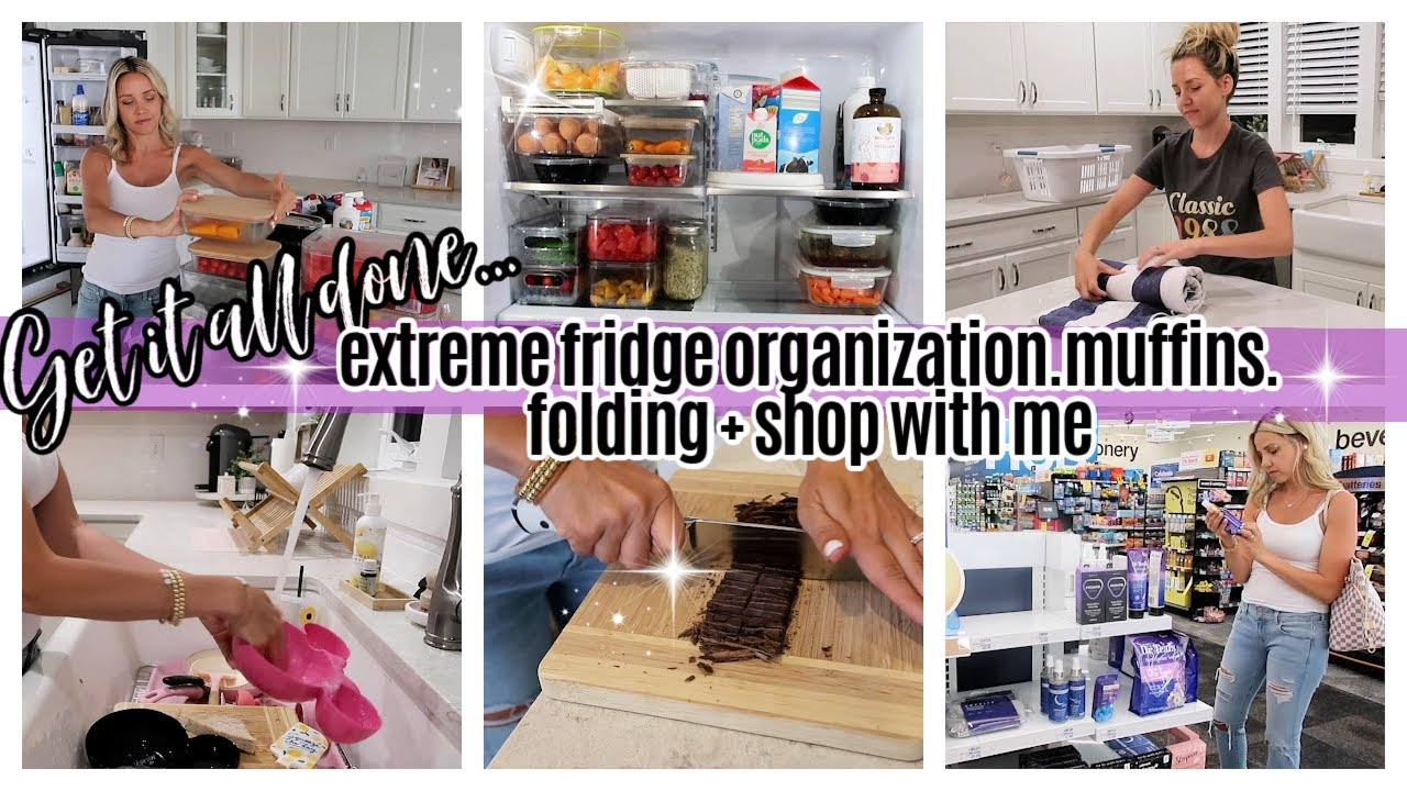 *NEW* GET IT ALL DONE EXTREME FRIDGE ORGANIZATION, SHOP WITH ME, GLUTEN FREE MUFFINS HOMEMAKING SAHM