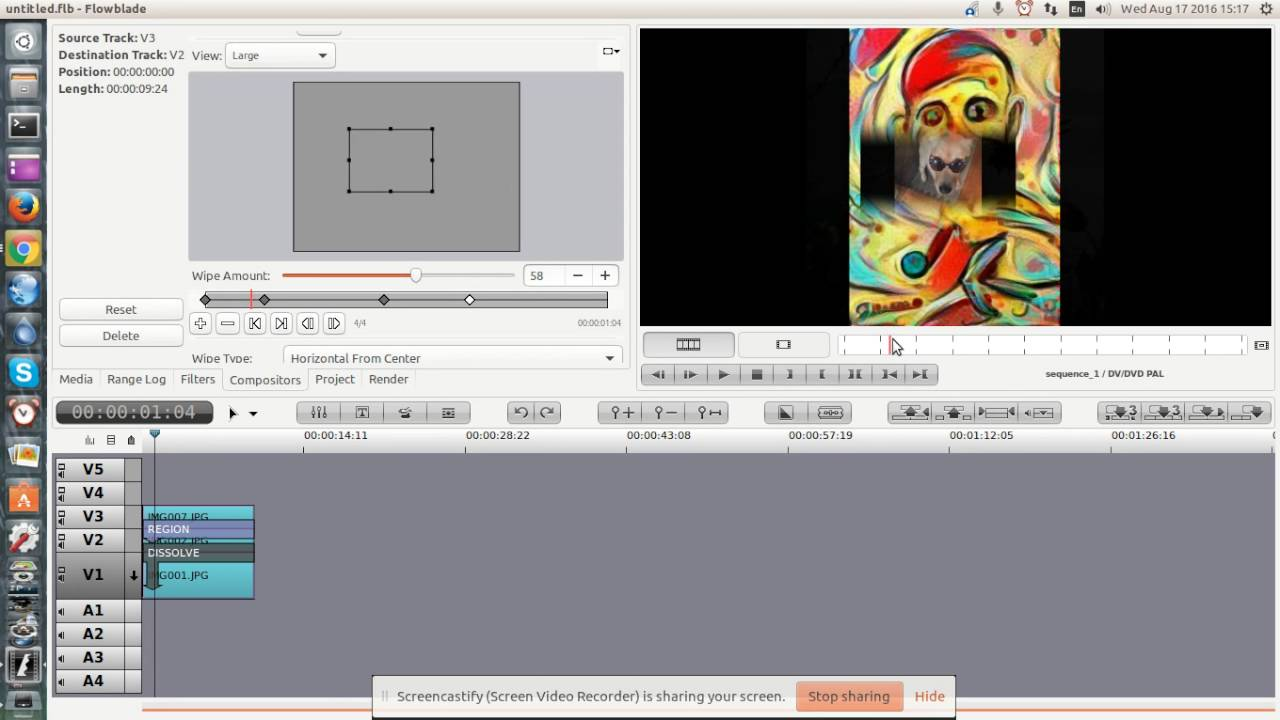 flowblade 1.6 on ubuntu 16 non linear video editor blending and in ...