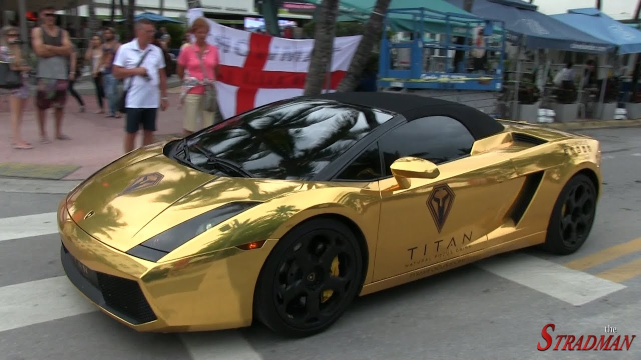 chrome gold lamborghini gallardo accelerating in south beach youtube