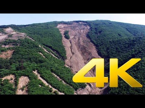 Landslide in Tskneti Betania road,Georgia, 4K aerial video footage DJI Inspire 1
