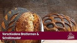 Verschiedene Brotformen und Schnittmuster