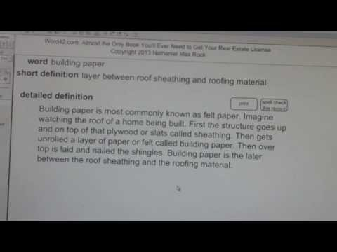 building paper CA Real Estate License Exam Top Pass Words