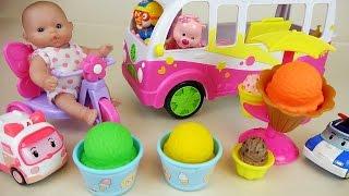 Ice Cream Bus shop with Baby Doll Pororo and Robocar Poli car toys play thumbnail