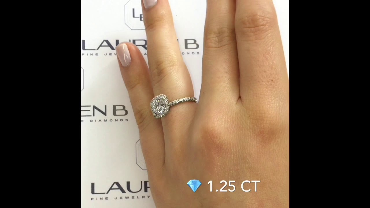 1 25 Ct Round Diamond Halo Engagement Ring Youtube