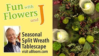 Creating a Split Wreath Centerpiece with Hedge Apples and Hurricane Candles!