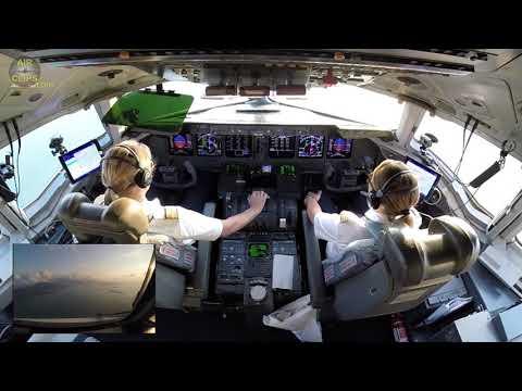 View over Pilot's Shoulder! Captain Inge landing her Lufthansa Cargo MD-11F in Hongkong! [AirClips]