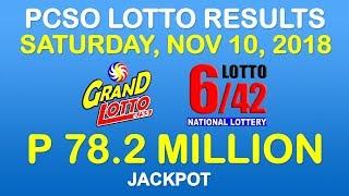 Lotto Result November 10 2018 9pm PCSO (Grand Lotto 6/55, Lotto 6/42 results)