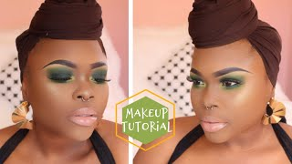 ALL GREEN Makeup Tutuorial | Quick and EASY | WOC | B.O.M.B